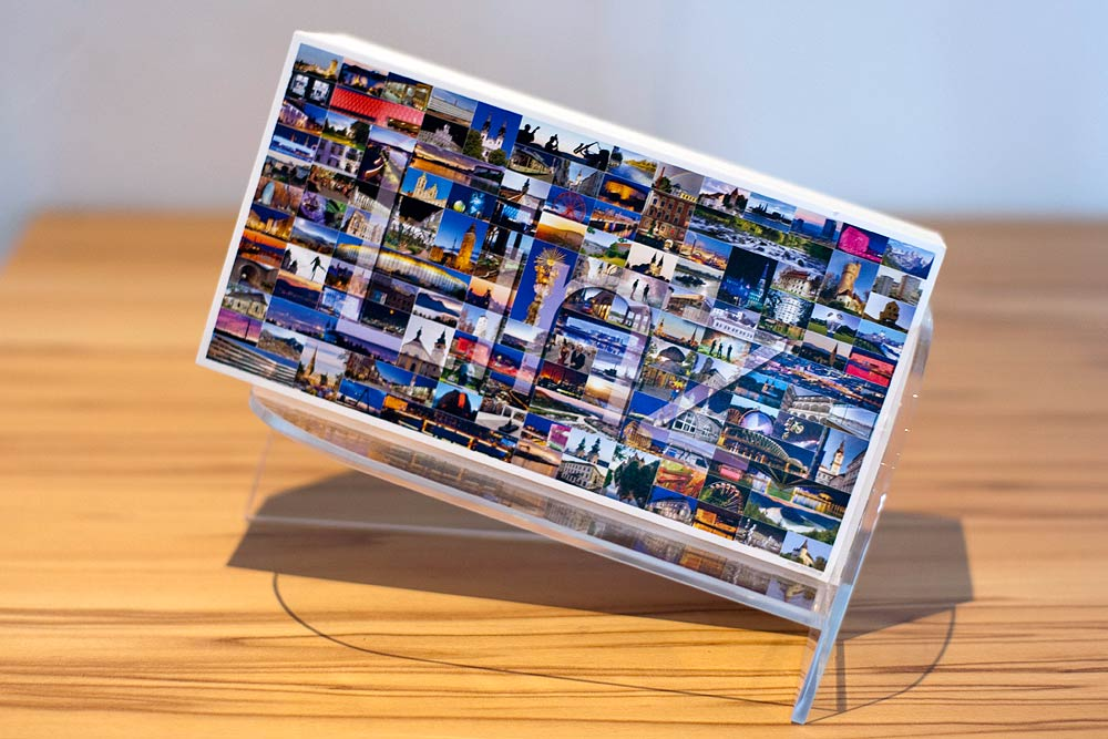 Foto360 panorama display aus acryl für panorama postkarten